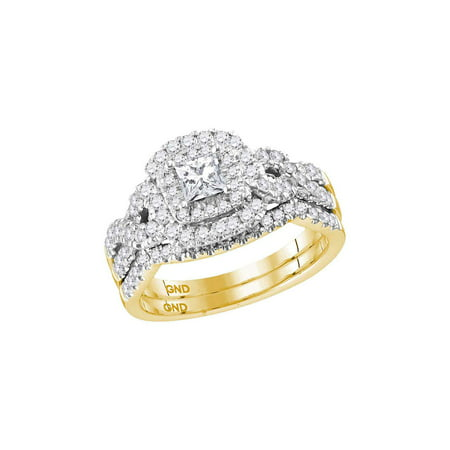 14kt Yellow Gold Womens Princess Diamond Bridal Wedding Engagement Ring Band Set 1.00 Cttw (Certified)