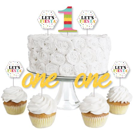 1st Birthday Let's Fiesta - Dessert Cupcake Toppers - Mexican Fiesta First Birthday Party Clear Treat Picks - Set of 24