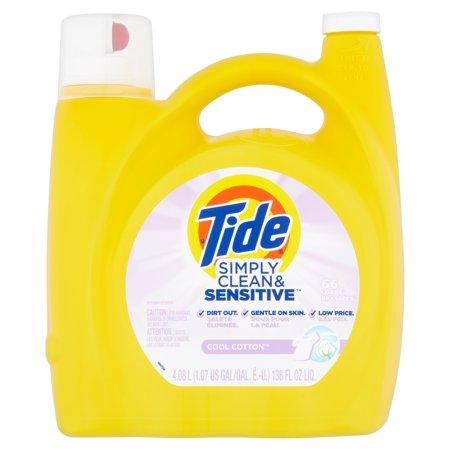 Tide Simply Clean & Sensitive HE Liquid Laundry Detergent, Cool Cotton Scent, 66 Loads 138 fl oz