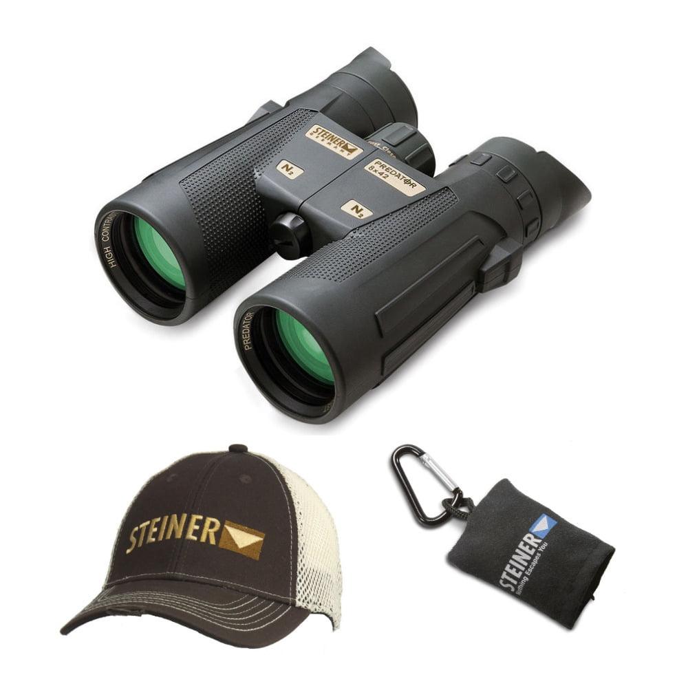 Steiner Predator 8x42 Binoculars with Cap and Microfiber Lens Cloth Pouch
