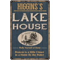 HIGGINS'S Lake House Blue Cabin Home Decor 12 x 18 Matte Finish Metal 112180038365