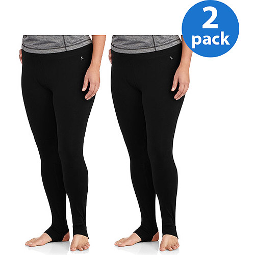 Danskin Now Women;s Plus-Size Cotton Stirrup Pant 2pk Value Bundle