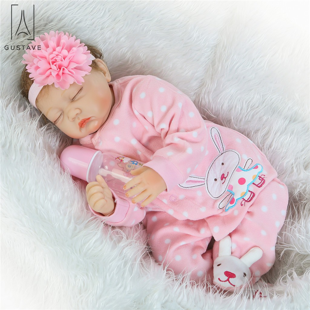 GustaveDesign 22 inch Lifelike Lovely Baby Reborn Doll Silicone Girl Realistic Handmade Weighted Baby for Age 3+