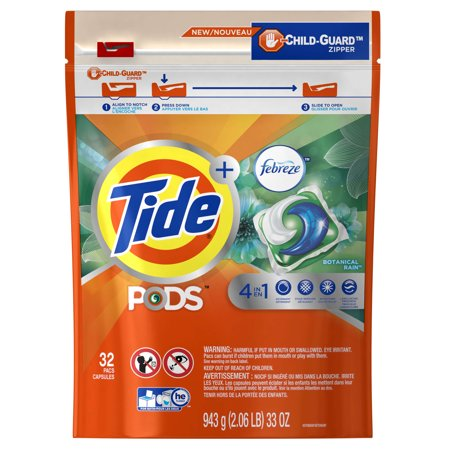 Tide Pods Laundry Detergent With Febreze  Botanical Rain  32 Count
