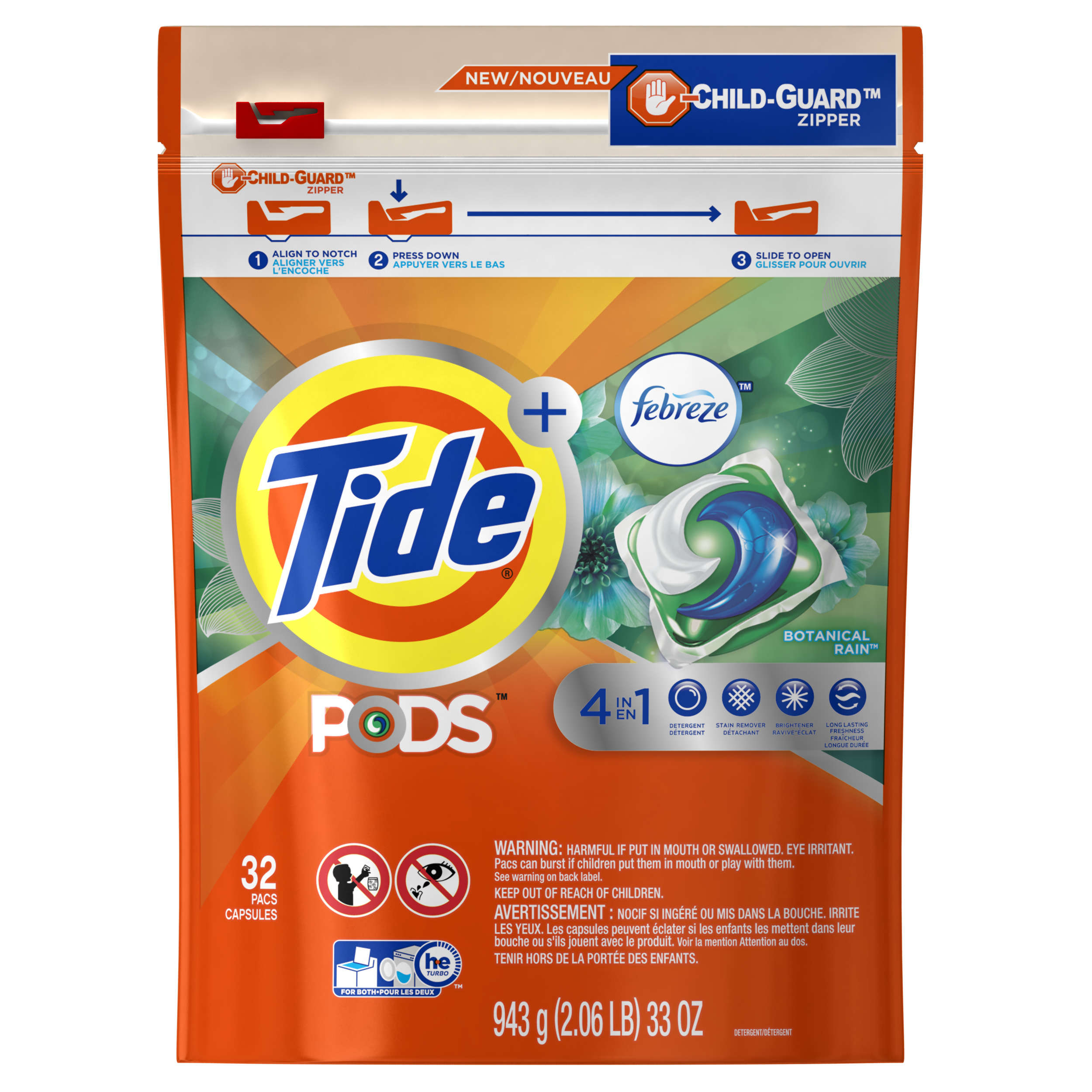 Attractive Tide PODS Laundry Detergent With Febreze, Botanical Rain, 32 Count