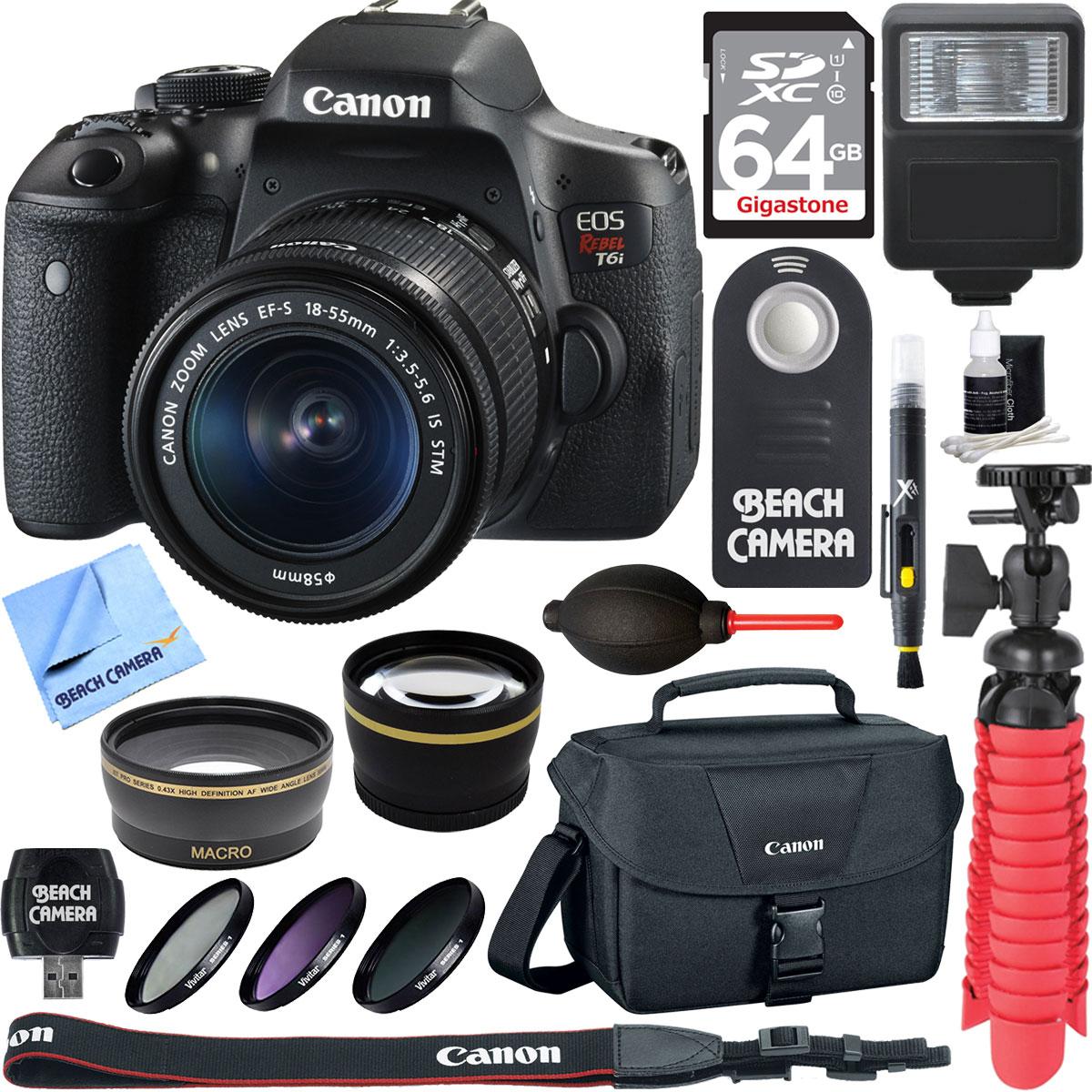 Canon EOS Rebel T6i Digital SLR Camera Wifi + EF-S 18-55mm