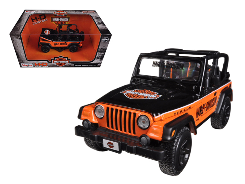Jeep Wrangler Rubicon Harley Davidson Orange Black 1 27 Diecast Model by Maisto by Maisto