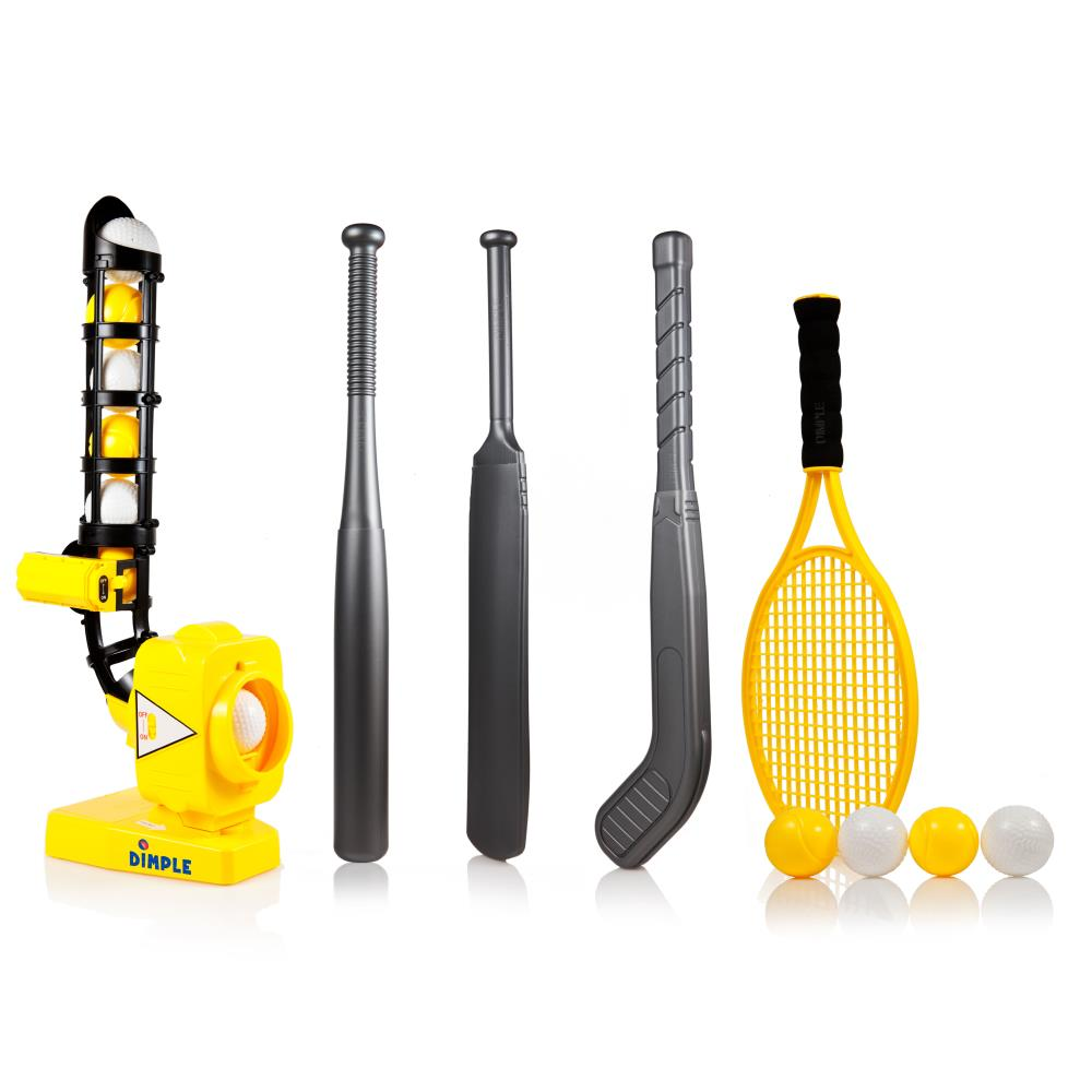 Dimple Power-Pro Kids 4 IN 1 Baseball Pitching Machine with Adjustable Angles - Perfect Sports Training Pitcher for 4 Games - Baseball  Cricket  Tennis  Hockey - Yellow