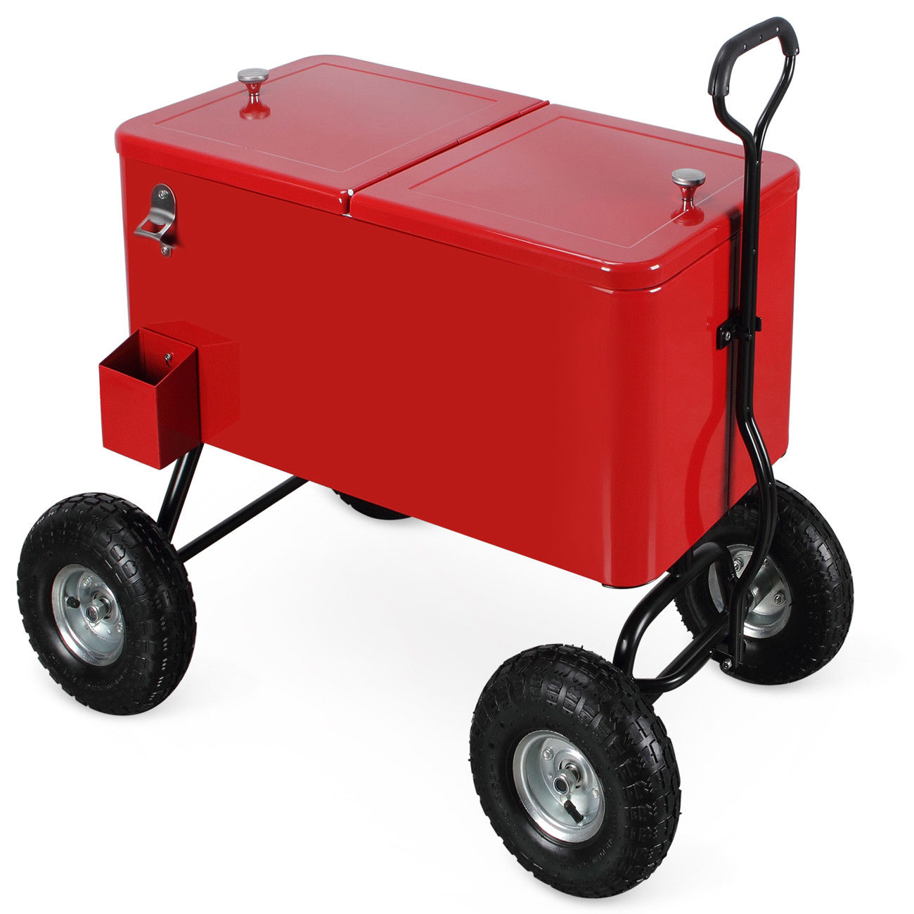 GHP 80-Qt Red Steel & Polyurethane Dual Hinged Lids Cooler Wagon w Rear Drain Spout