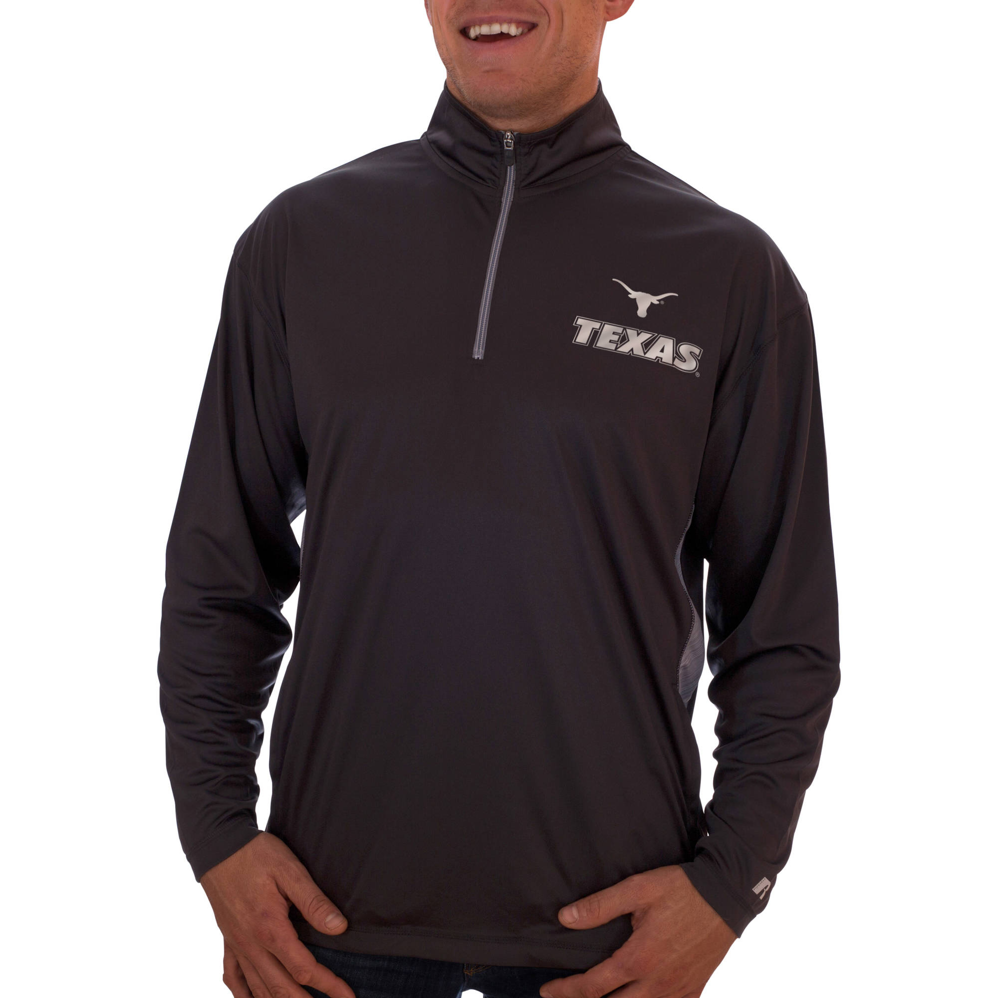 Russell NCAA Texas Longhorns Big Men's Athletic Fit Black/ Storm Gray 1/4-Zip Fitness Jacket
