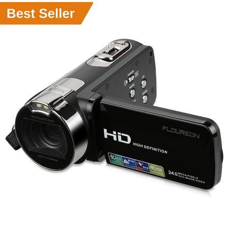 FLOUREON HD 1080P Camcorder Digital Video Camera DV 2.7 TFT LCD Screen 16x Zoom 270 Degrees Rotation for Sport /Youtube/Short Films Video Recording