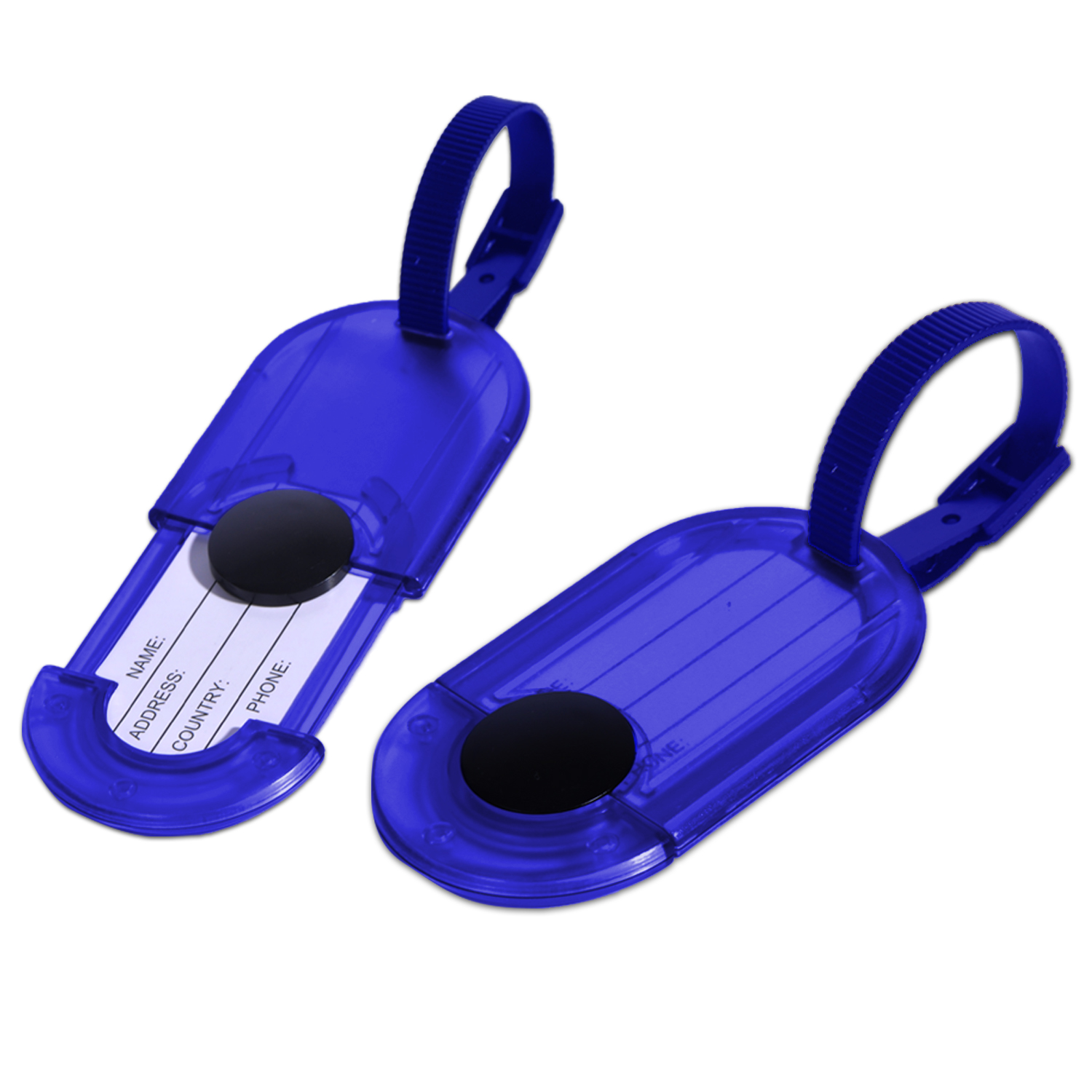 Miami CarryOn Water Resistant Luggage Tag Holders / Travel ID Bag Tags - 2 Set (Blue)