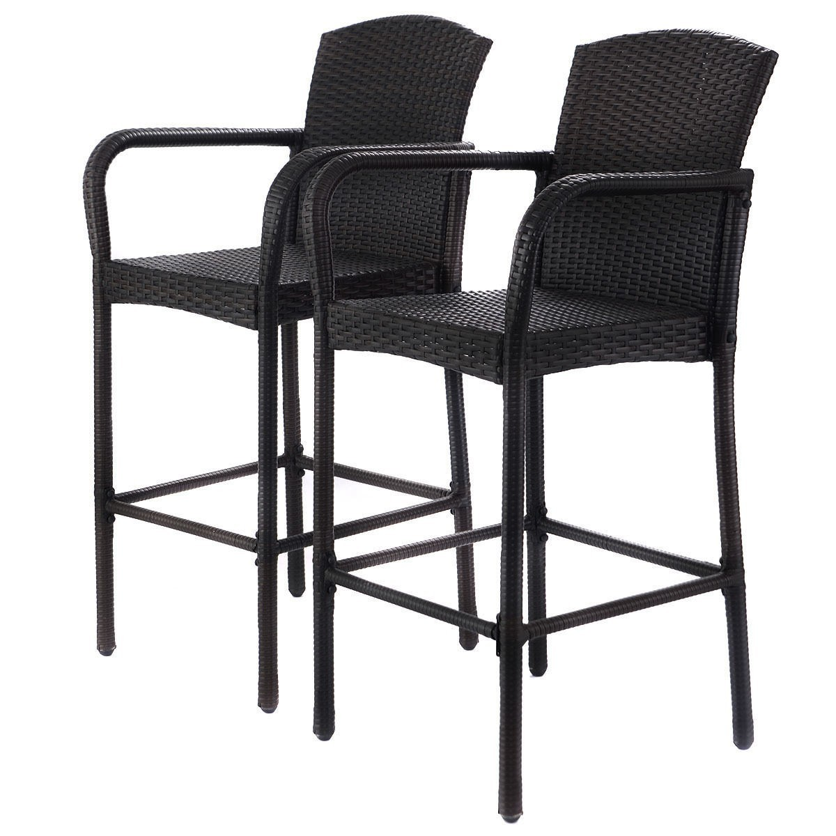 2 PCS Rattan Wicker Bar Stool Dining High Counter Chair Patio Furniture Armrest
