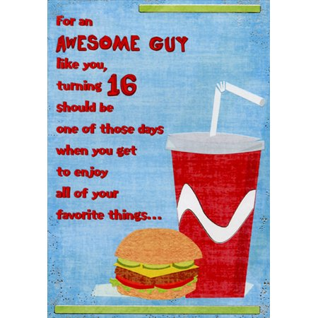 Designer Greetings Hamburger and Soda Age 16 / 16th Birthday Card for Him (Halloween Cards For Him)