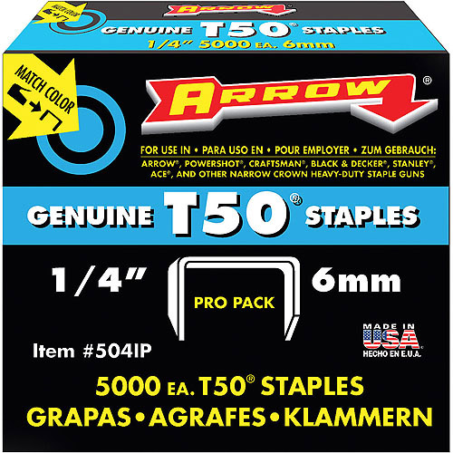 "Arrow Fastener 1/4"" T50 Staples, 5,000 Count"
