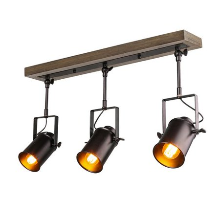 LNC Home Wood Spotlight 3-Light Track Kit (3 Spot Track Light)