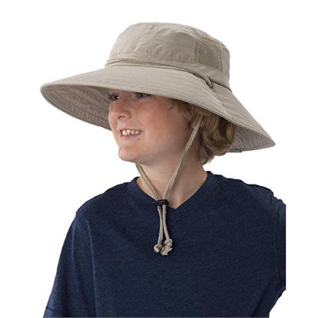 Sun Protection Zone Kids Unisex Lightweight Adjustable Outdoor Booney Hat (100 SPF, UPF 50+) - Khaki