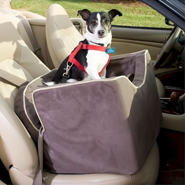 Snoozer Pet Dog Cat Puppy Outdoor Lookout I Car SUV Secure Safety Seat Small Buckskin Java