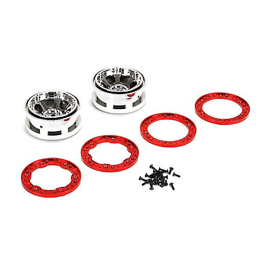 2.2 Beadlock Wheels, Chrome W/Red Rings(2): NCR2.0