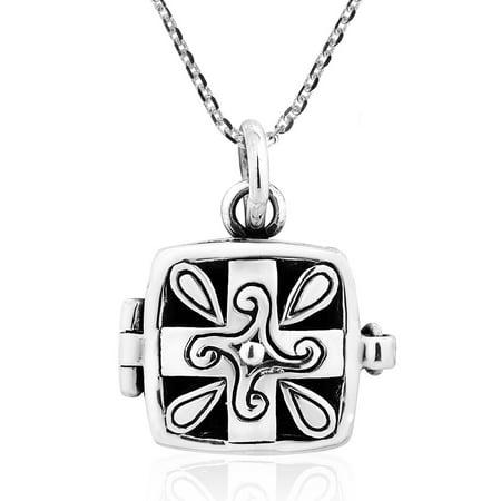Square Cross Quad Spiral Prayer Box Sterling Silver Locket Necklace