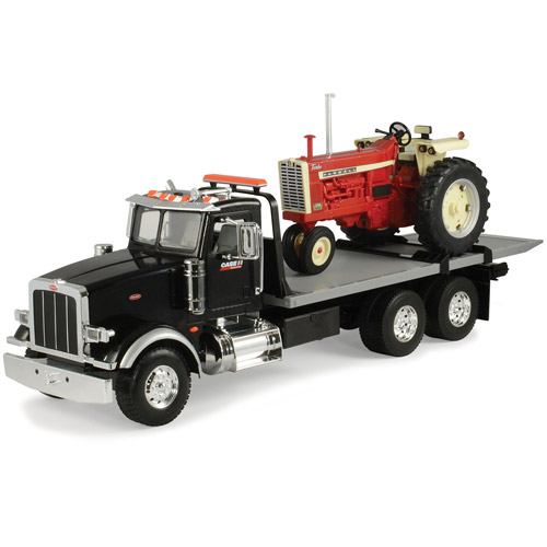 TOMY ERTL Big Farm 1:16 Peterbilt Model 367 Delivery Truck with Roll Off and IH 1206 Narrow Front