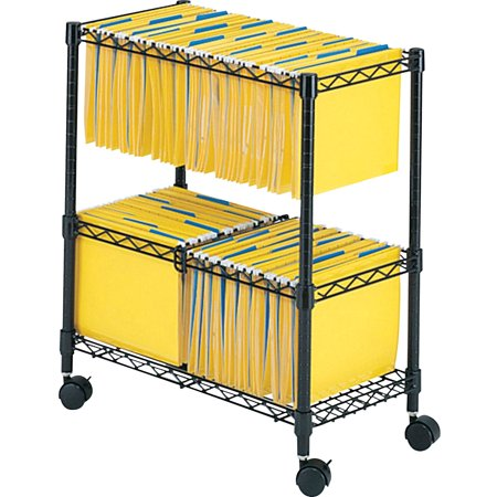 Safco, SAF5278BL, 2-Tier Rolling File Cart, 1 Each, Black