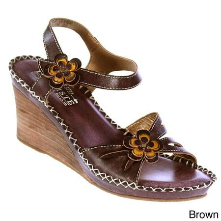 - Spring Step  Women's 'L'Artiste' Leather Floral-trim Wedge Sandals
