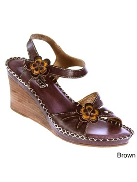 8e15019cc834 Product Image Spring Step Women s  L Artiste  Leather Floral-trim Wedge  Sandals