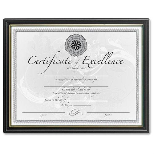 "Dax Black & Gold Certificate Frames - 8.50"" X 11"" Insert - Plastic - Black (N1188N5)"