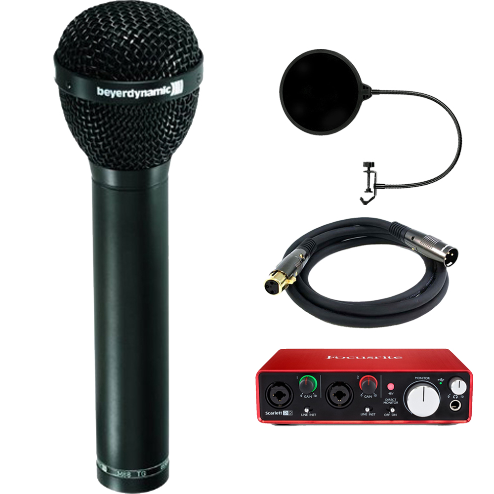 BeyerDynamic Dynamic Microphone Hypercardioid Polar Patter, Vocals, Drum with Interface Bundle