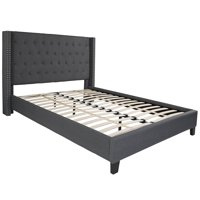 BSD National Supplies Conway Queen Size Dark Grey Wingback Button Tufted Platform Bed with Nailhead Trim