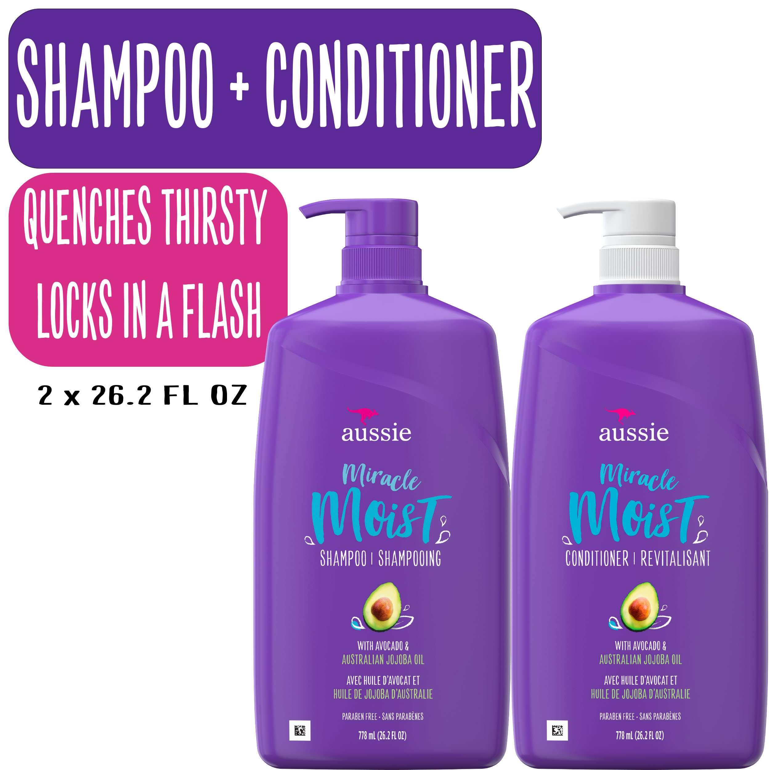 Aussie Miracle Moist Shampoo And Conditioner Hair Set 26 2 Fl Oz Walmart Com Walmart Com