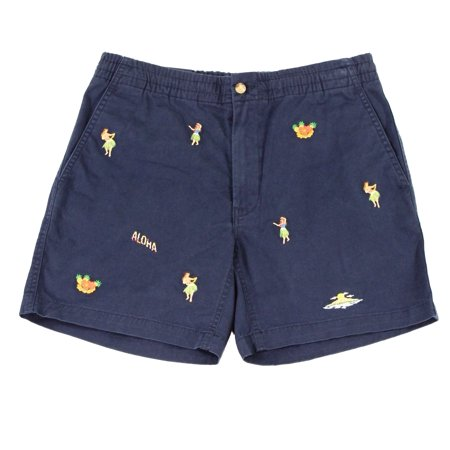 Polo Embroidered Shorts (Polo Ralph Lauren NEW Blue Mens Size XL Hoola Embroidered Twill)