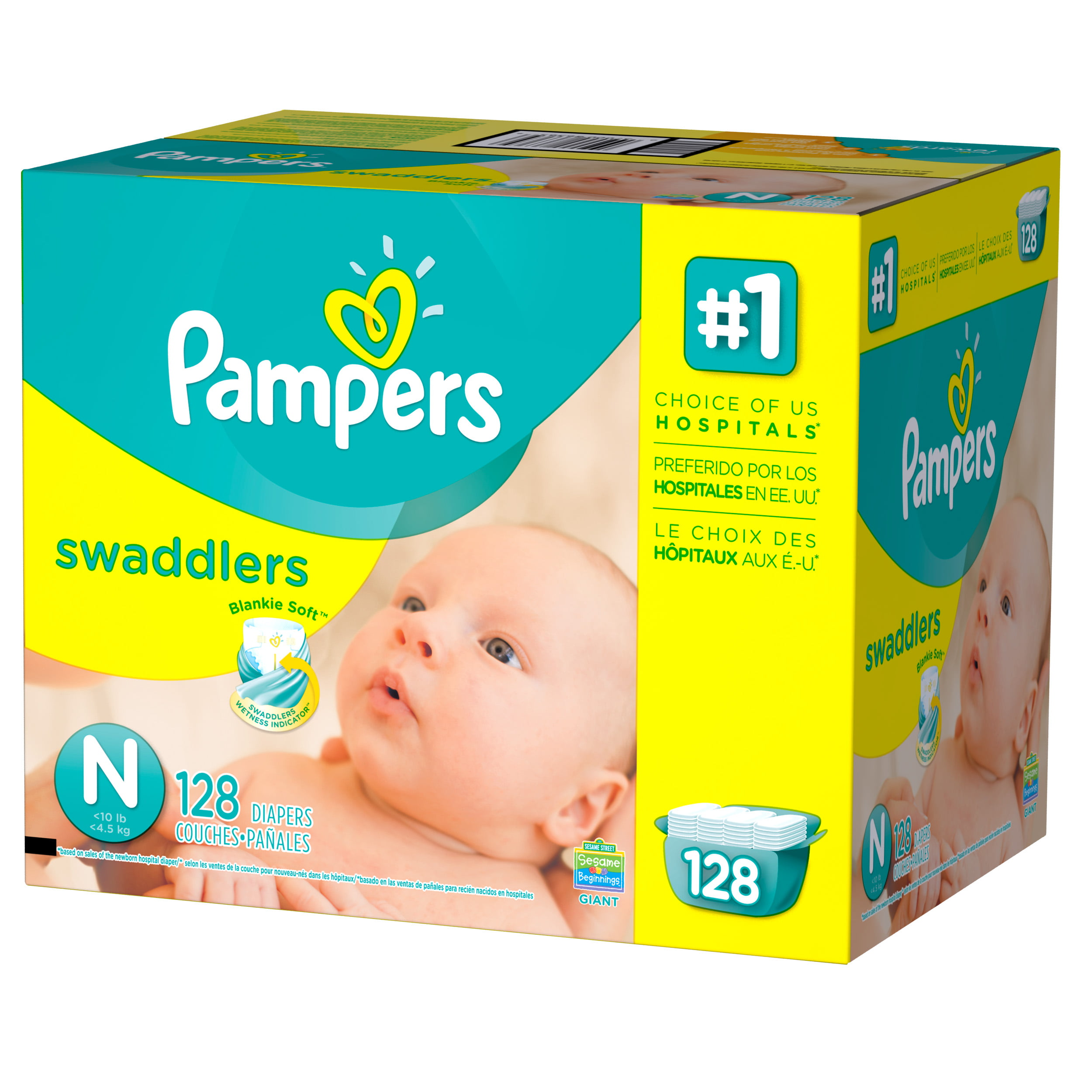 Pampers Swaddlers Newborn Diapers Size 0 128 count ...