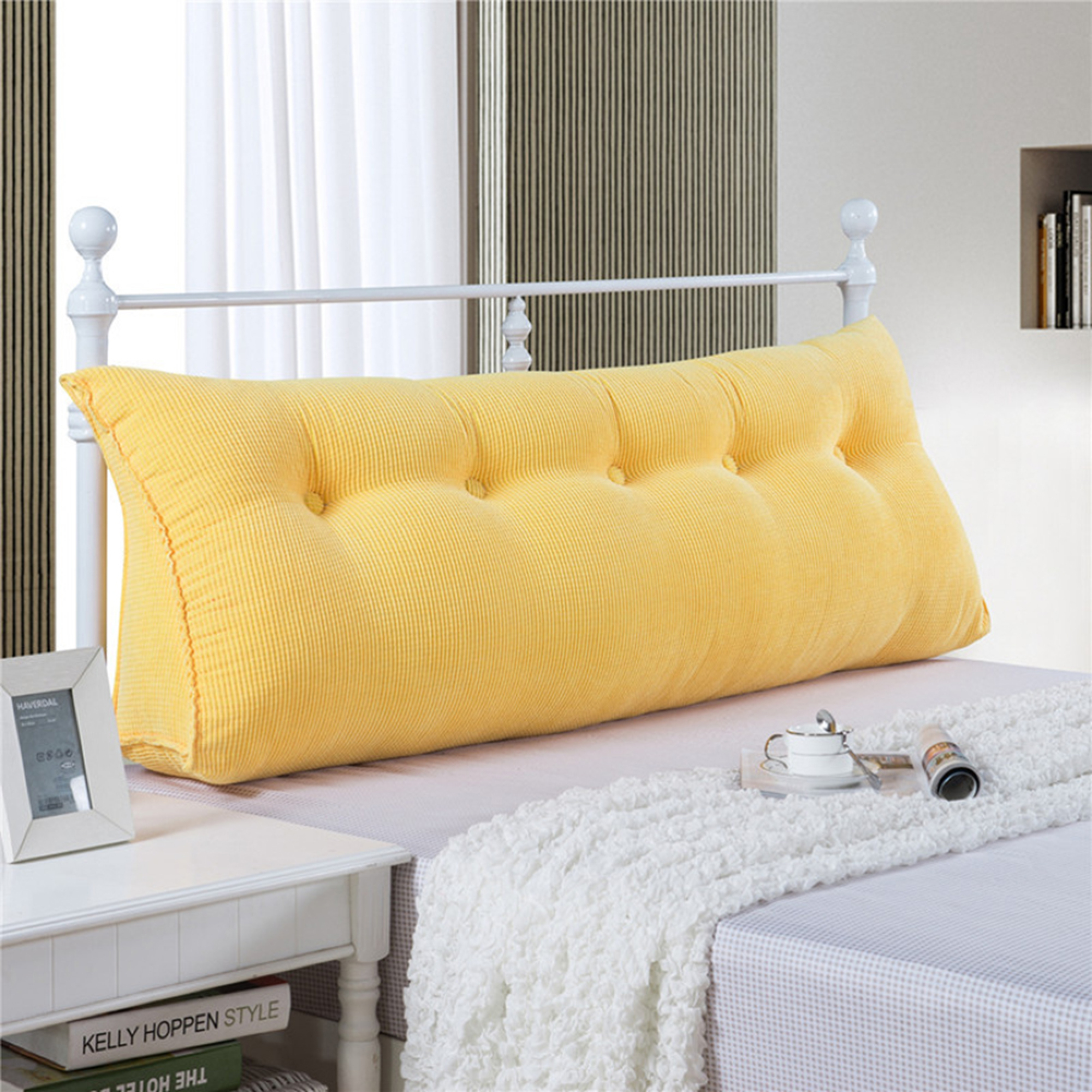 Sofa Bed Large Filled Triangular Wedge Cushion Bed Backrest Positioning  Support Pillow Reading Pillow Office Lumbar Pad with Removable Cover Yellow  ...