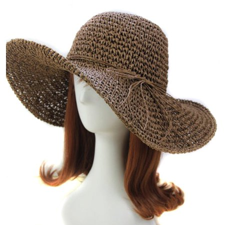 Women Floppy Straw Hat with Wide Brim Foldable Summer Beach Sun Hat, Coffee