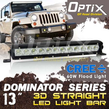 "Optix 13"" Inch 3D LED Light Bar - Straight Single Row 60W Flood Beam - Universal Mount - Black Shockproof Diecast Aluminum IP67 Waterproof - Work Driving DRL Lamp"