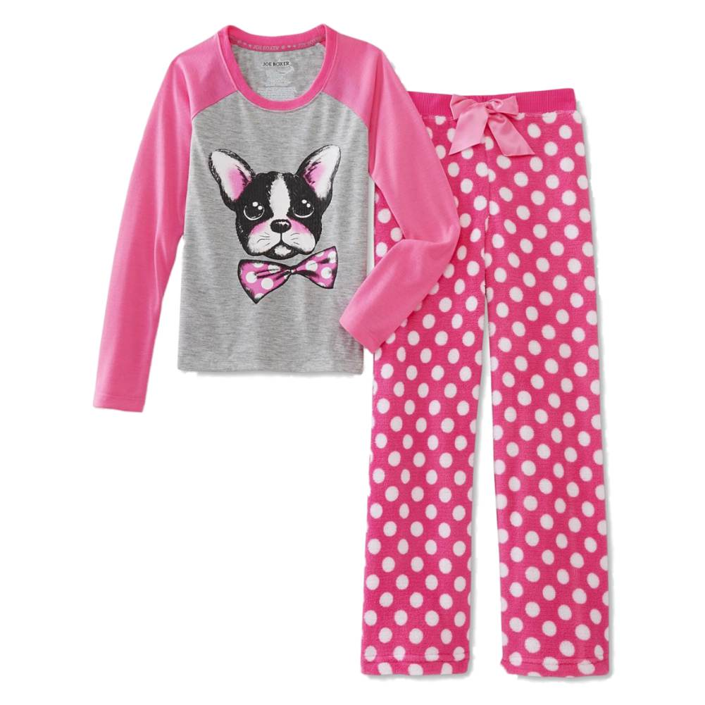Joe Boxer Girls Pink Polka Dot Bull Dog Pajamas 2 Piece Sleep Set Sleepwear PJs