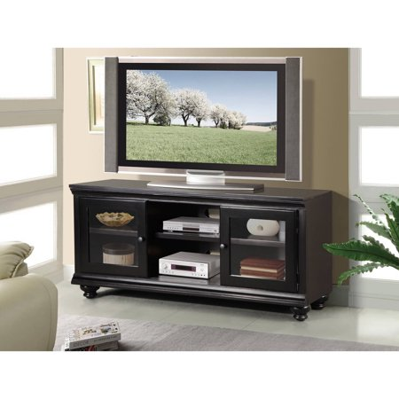 Liverpool Wood Veneer TV Stand for TVs up to 70″, Black
