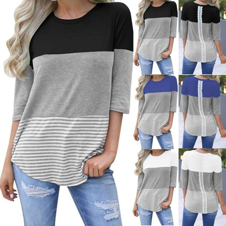 Women Celeb Designer Inspired Casual Loose Tops Ladies T-Shirt Slogan Stripe Tee (Womens Designer Sonnenbrillen Billig)