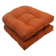 Pillow Perfect Solid Wicker Chair Seat Cushion - Set of 2