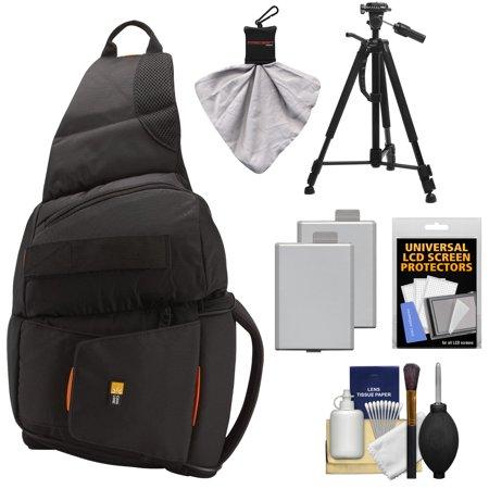 Case Logic Digital SLR Sling Camera Bag/Case (Black) (SLRC-205) + (2) LP-E5 Batteries + Tripod + Accessory Kit for Canon EOS Rebel XS, XSi, & T1i