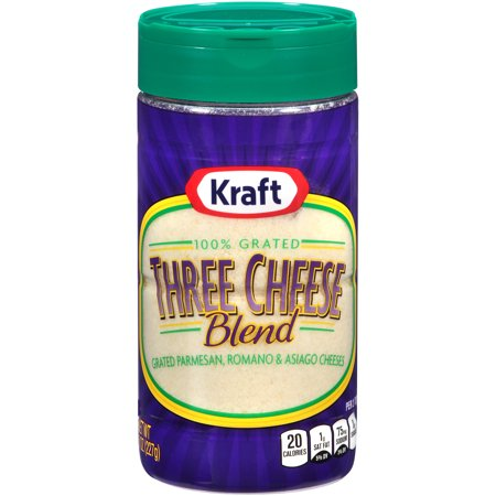Block Of Cheese ((2 Pack) Kraft 100% Grated Three Cheese Blend Shaker, 8 oz)