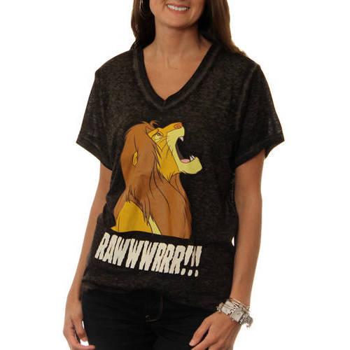 Lion King Womens Burnout V-Neck Tee Shirt