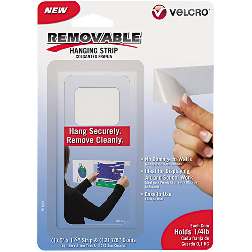 Velcro Removable Light Duty Hook and Loop Fasteners, 5' Tape and 12 Coins