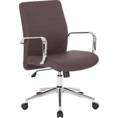 Mid Back Managers Chair in Chocolate bonded leather with chrome arms and base ()