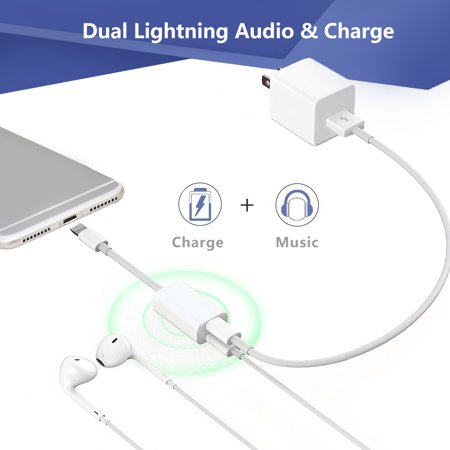 (Charger For Apple iPhone7/7 Plus Double Dual Charger lightning Adapter splitter Audio Music Play 2in1 Converter Earphone Headphone music Play Quick Charging USB cable)