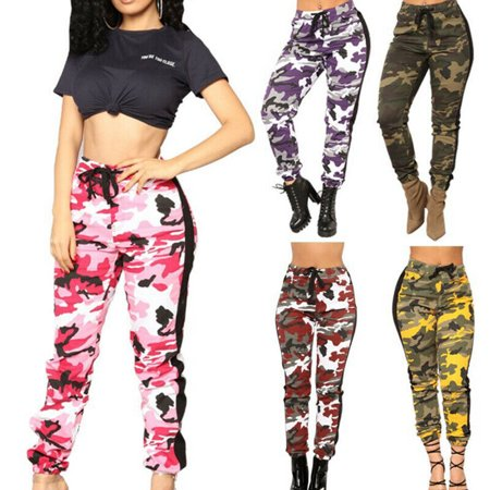 The Noble Collection New Women Slim Camo Cargo Trousers Long Pants Military Army Camouflage Jeans