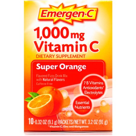 super orange aromatisée 1000mg Vitamine C Complément Drink Mix Fizzy 10 ct