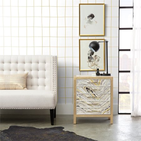 Home Fare Modern Handpainted Accent Chest in White and Gold Swirl - image 3 de 6